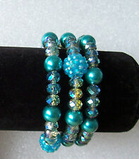 Sparkly Turquoise Memory Wire Bracelet - Fits Any Adult - Wraparound