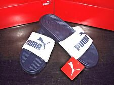Puma Mens PopCat Sandals Slip on Flip Flops Slides Navy Blue & White Size 11 NWT