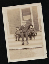Old Antique Vintage Photograph Two Children Sitting With Dad On Front Porch