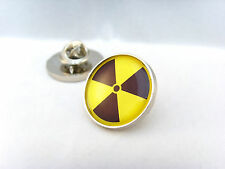RADIOACTIVE RADIATION SYMBOL HAZARD WARNING NUCLEAR BIO ATOM LAPEL PIN BADGE
