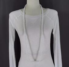 """White super extra long bead 44"""" necklace beaded wrap double look"""