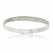 925 STERLING SILVER SCROLLS AND FLOWERS EXPANDABLE CHRISTENING BABY BANGLE