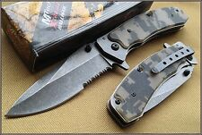 MTECH XTREME CAMO G10 HANDLE SPRING ASSIST KNIFE 4.5 INCH CLOSED WITH CLIP 440