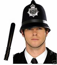Mens Adult British Bobby English Policeman Police Helmet & Truncheon Fancy Dress