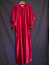 RIVIERA FASHIONS Vtg 70s VELOUR Caftan NIGHT GOWN Long BURGUNDY Rhinestone XL/1X