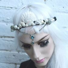 Mermaid Pearl Crown Blue Siren Sea Shell Festival Headband Pastel Indie Grunge