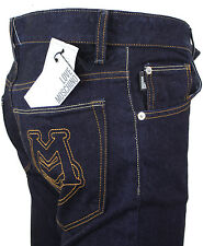 NEWT$100%AUTH LOVE MOSCHINO BLUE DENIM JEANS PANTS W EMBROIDERY 34