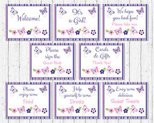 Pink & Purple Butterfly Baby Shower Table Signs - 8 Printable Signs