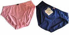2 X PACK LACE DESIGN SUPPORT BRIEFS NAVY BLUE / PINK  PLUS SIZE 28 30