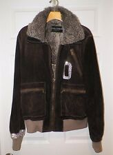 MEN'S VINTAGE DOLCE & GABBANA BROWN SUEDE ZIP FRONT JACKET RABBIT FUR LINING 50