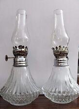 """Vtg. Pair Lamplight Farms Miniature Oil Lamps-Glass Diamond Base--8 1/2"""" tall"""