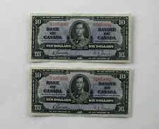 Two Consecutive Serial Number 1937 Bank of Canada $10 Notes