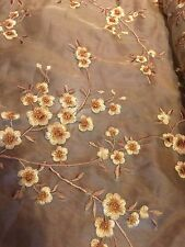SILK SHEER EMBROIDERY FLOWERS COPPER GOLD 3 YARDS