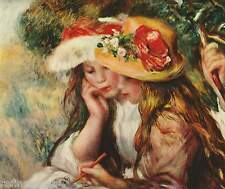 Two reading girls in a garden by Pierre-Auguste Renoir Oil Painting repro