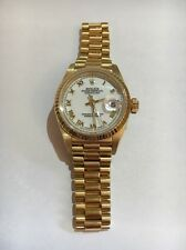 Women's 18 K Yellow Gold Presidential Rolex White Roman Numeral Dial With Box