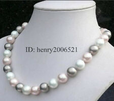 """12mm southsea white pink grey shell pearl necklace 18"""""""