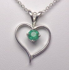 4mm Natural Muzo Emerald .925 Sterling Silver Gemstone Heart Pendant Necklace