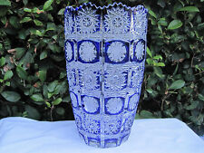 VINTAGE BOHEMIA QUEEN LACE COBALT BLUE HAND CUT 24% LEAD CASED CRYSTAL VASE 8""