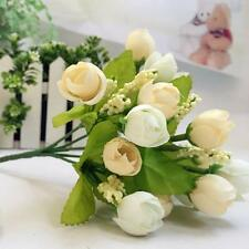 15 Heads Artificial Rose Silk Fake Flower Leaf Party Home Decor Bridal Bouquet