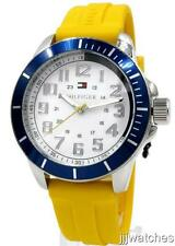 New Tommy Hilfiger Yellow Silicone Band White Dial Men Dress Watch 51mm 1791147