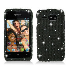 For Kyocera Event C5133 Crystal Diamond BLING Hard Snap Case Phone Cover Black