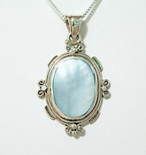 "Natural Mother of Pearl Oval 25X18 mm Necklace w/ 18"" Box Chain Sterling Silver"