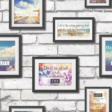 Fine Decor Wallpaper - Novelty Frames On Brick Wall - Photo Quotes - FD41920