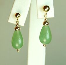 14k solid y/gold 12x8mm briolette natural Green Jade elegant earrings 2.7gram
