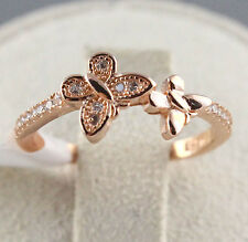 Rose Gold 925 Sterling Silver TURKISH Zircon CZ Lady Midi Finger Ring Size 4