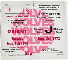 Football Ticket WOLVES v ORIENT Sept 1972 FLC