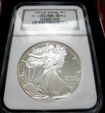 1987-S  NGC  PF 69  PROOF SILVER EAGLE $1.00 DOLLAR COIN ULTRA CAMEO WOOD BOX