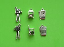 6x 3D Movie Lover Cinema Ticket Film Camera Chair Tibetan Silver Charm Pendant