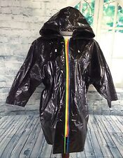 VTG 90s Shiny BLACK Vinyl Raincoat Jacket Slippery When Wet Rain Slicker MEDIUM