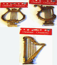 (Lot of 3) ANTIQUE STYLE GOLD HARP ORNAMENT s  Decorations LARGE NIP Shackman