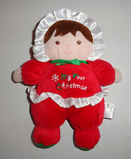 Prestige Toys Baby Doll MY FIRST CHRISTMAS Plush Rattle Toy Brunette Girl C11