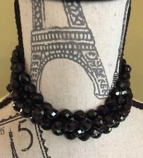 Beautiful! Signed Miriam Haskell Black Crystal Matching Necklace & Bracelet Set!