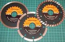 "3Pc 115mm / 4.5"" Diamond Turbo Cutting Discs Trademaster Concrete Stone & Brick"