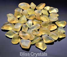 Bliss: 4 Small Gemmy YELLOW PREHNITE - Yellow Jade Small Tumbled Stone Crystal