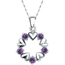 Donna 925 Argento Sterling Collana Ovale Purple Heart Ciondolo Catena Cristallo CZ