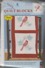 "1 Pk Jack Dempsey ""Cardinals"" Stamped Xstitch/Embroidery Quilt Blocks"