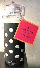 NWT Kate Spade Le Pavilion Black Dot Water Bottle Glass Acrylic Silicone Drink