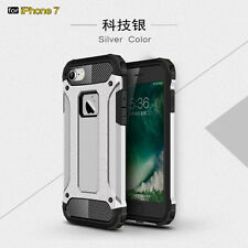 Silver Shockproof Bumper Armor Rubber Hybrid Case Cover For iPhone 7
