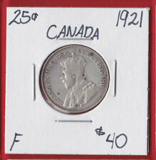 1921 25 Cent Canada Silver Twenty Five Cents Quarter Coin 6519   F - $40