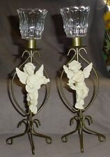 "SET OF TWO CHRISTMAS AROUND THE WORLD CHERUB CANDLE HOLDERS, 14"" HIGH"