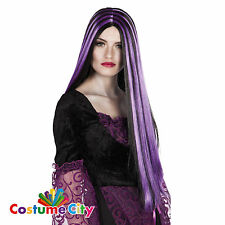 Womens Halloween Black & Purple Streaked Witch Wig Fancy Dress Costume Accessory