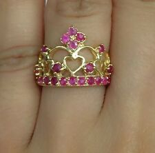 14k Solid Gold Yellow Gold Cute Crown Ring Natural Ruby 2.2TCW, Sz 6