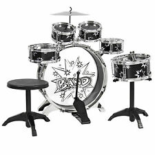 Kids Drum Set Kids Toy with Cymbals Stands Throne Black Silver Boys Toy Dru