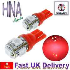 2 x 5 SMD LED 501 T10 W5W BRIGHT RED Side Light Interior Numberplate Bulbs UK c