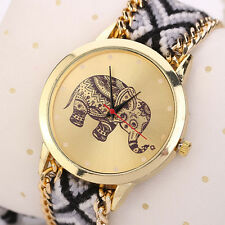 Women Watch Bracelet Elephant Pattern Weaved Rope Band Dial Quartz Wristwatch UK