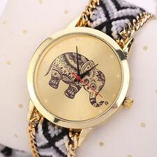 Women Watch Bracelet Elephant Pattern Weaved Rope Band Dial Quartz Wristwatch UK